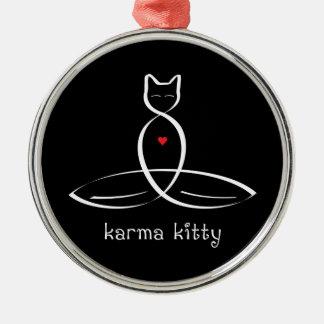Karma Kitty - Fancy style text. Metal Ornament