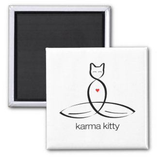 Karma Kitty - Regular style text. 2 Inch Square Magnet