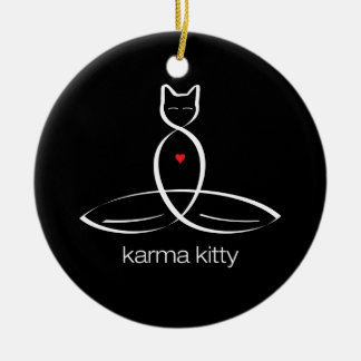 Karma Kitty - Regular style text. Ceramic Ornament