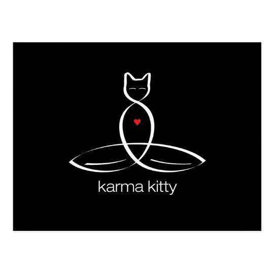 Karma Kitty - Regular style text. Postcard