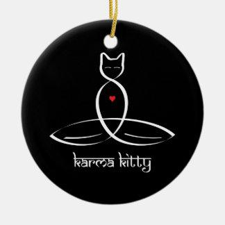 Karma Kitty - Sanskrit style text. Ceramic Ornament