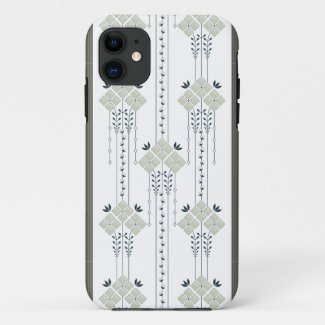 Karo flowers and curls pattern iPhone 11 case