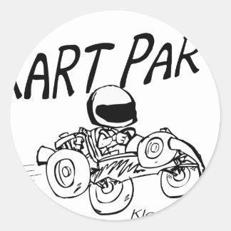 Kart Party Black Logo Classic Round Sticker