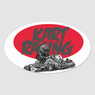 Kart racer oval sticker