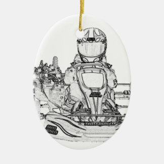 Kart Racer Pencil Sketch Ceramic Ornament