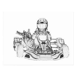Kart Racer Pencil Sketch Postcards