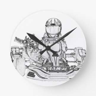 Kart Racer Pencil Sketch Round Clock