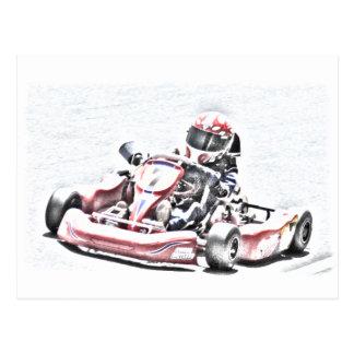 Kart Racer Shaded Sketch Postcard