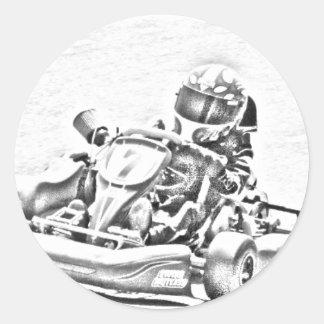 Kart Racing B/W Shading Classic Round Sticker