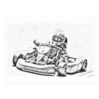 Kart Racing B W Shading Post Card