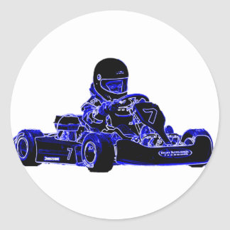 Kart Racing Blue and White Classic Round Sticker
