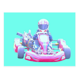 Kart Racing-Blue Background Postcard