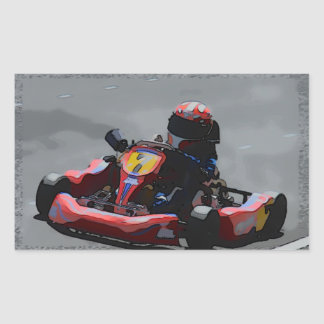 Kart Racing Cartoon Sketch Rectangular Sticker