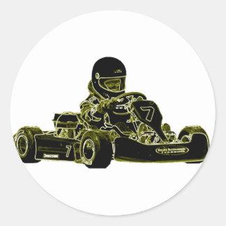 Kart Racing Classic Round Sticker