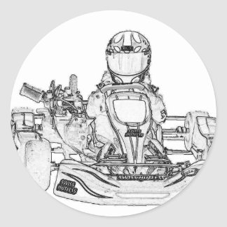 Kart Racing pencil sketch Classic Round Sticker