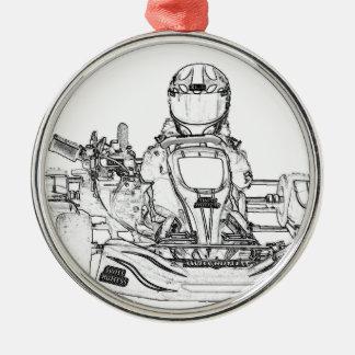 Kart Racing pencil sketch Metal Ornament