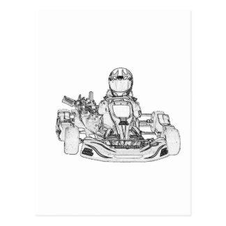 Kart Racing pencil sketch Postcard