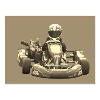 Kart Racing-Sepia tone Post Card