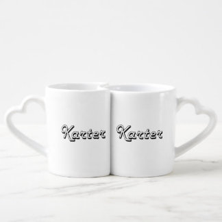 Karter Classic Retro Name Design Couples' Coffee Mug Set