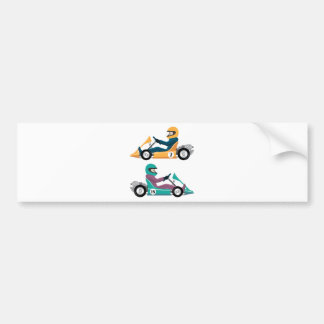 Karting Go Cart race vehicle with a driver Bumper Sticker