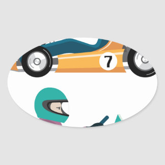 Karting Go Cart race vehicle with a driver Oval Sticker