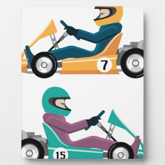 Karting Go Cart race vehicle with a driver Plaque