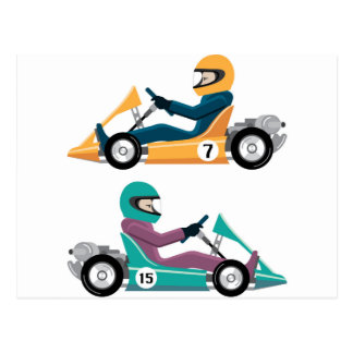 Karting Go Cart race vehicle with a driver Postcard