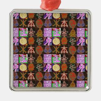 KARUNA Reiki = Gifts of Cosmic Kindness n Healing Square Metal Christmas Ornament