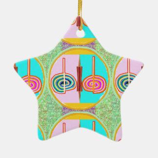 KARUNA Reiki : Kreeya Infinite Balancing Symbol Double-Sided Star Ceramic Christmas Ornament