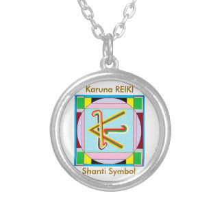KARUNA Reiki : Shanti Peace be with all Silver Plated Necklace