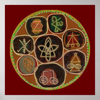 KARUNA Reiki símbolos abril de 2011 curativo Póster
