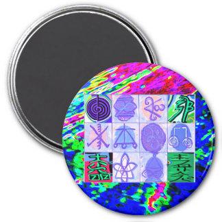KARUNA REIKI Symbols Vintage Art by GURUs Hands 3 Inch Round Magnet