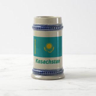 Kasachstan Flagge mit Namen Beer Stein