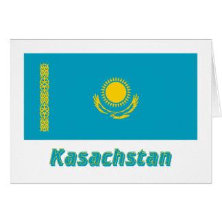 Kasachstan Flagge mit Namen Card