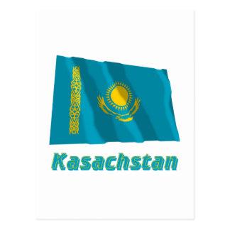 Kasachstan Fliegende Flagge mit Namen Postcard