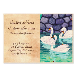 Kasamatsu Shiro Spring At The Moat Swans Hanga Large Business Cards (Pack Of 100)