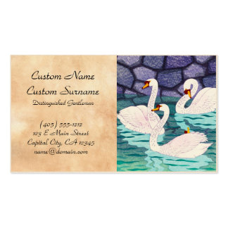 Kasamatsu Shiro Spring At The Moat Swans Hanga Double-Sided Standard Business Cards (Pack Of 100)