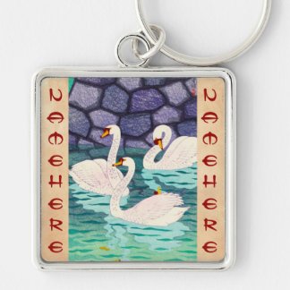 Kasamatsu Shiro Spring At The Moat Swans Hanga Key Chain
