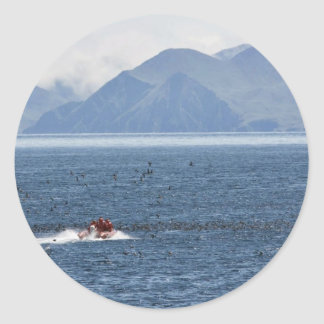 Kasatochi Island, MV Tiglax crew and scientist Classic Round Sticker