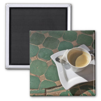 Kasbah Hotel and Restaurant, coffee and green 2 Inch Square Magnet