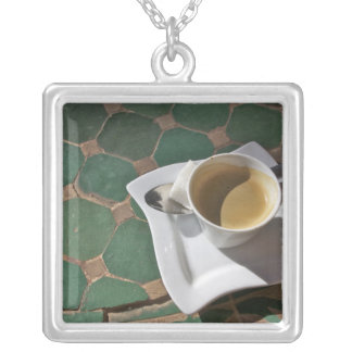 Kasbah Hotel and Restaurant, coffee and green Square Pendant Necklace