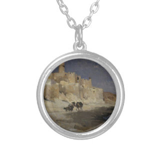 Kasbah Monastery by Henri Rousseau Silver Plated Necklace