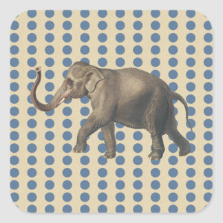 Kashmir Blue Spice Moods Dots with Elephant Square Sticker