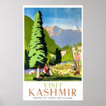 Kashmir India Vintage Travel Poster Restored