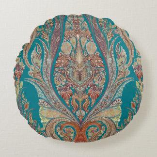 Kashmir Pattern Tribal Boho Bohemian Paisley Art Round Pillow
