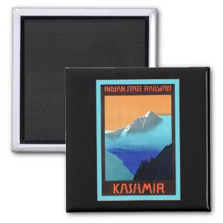 Kashmir ~ Vintage Travel 2 Inch Square Magnet