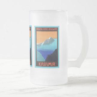 Kashmir ~ Vintage Travel Frosted Glass Beer Mug