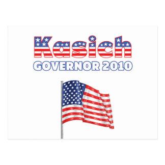 Kasich Patriotic American Flag 2010 Elections Postcard