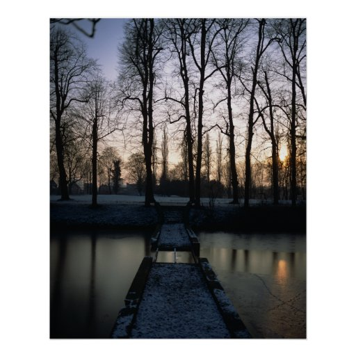 Kasteel Moat Sunset 1 Poster