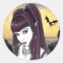 katana, vampire, goddess, faery, faerie, dragon, fae, fantasy, ocean, sunset, gothic, art, myka, jelina, mika, gods, goddesses, Sticker with custom graphic design